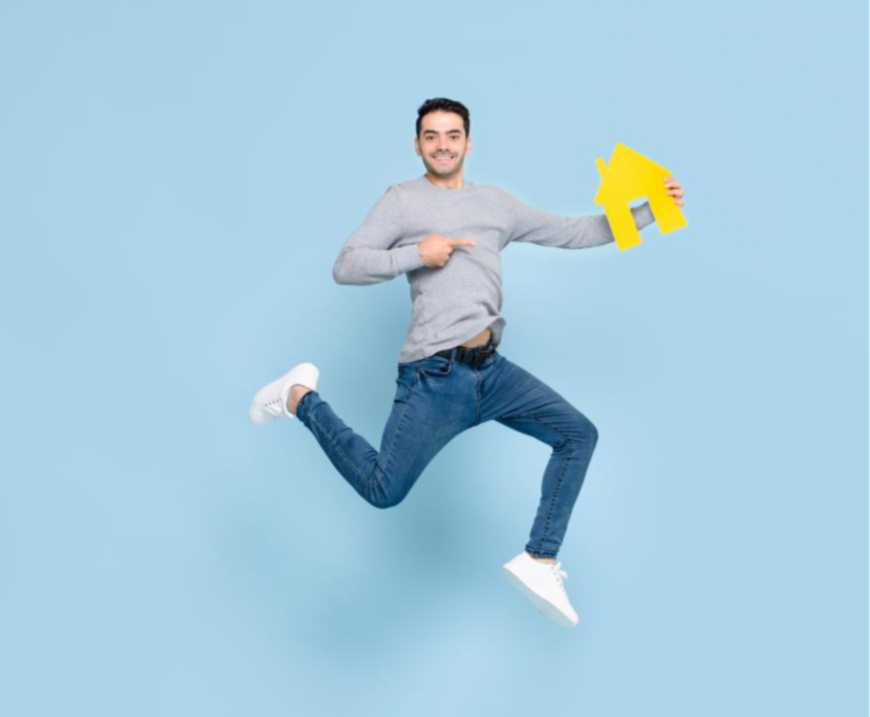 Cheapbills Finance Happy man jumpping with house
